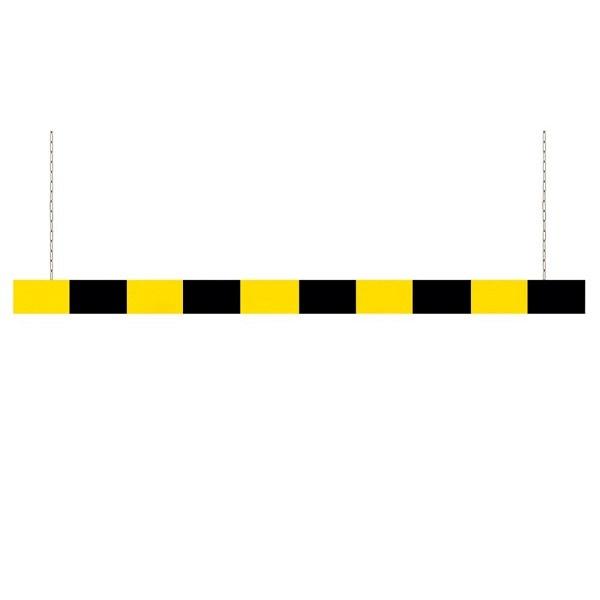 Aluminium Höhenbegrenzer Schwarz lackiert, gelben refl. Streifen