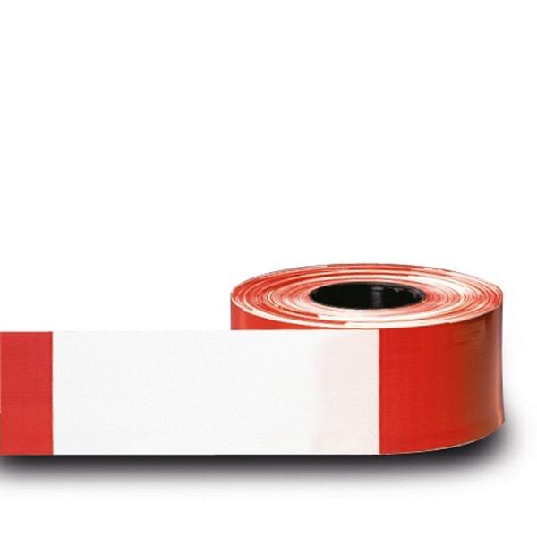 MORION Absperrband, 500 lfm, 80 mm rot-weiss schraffiert