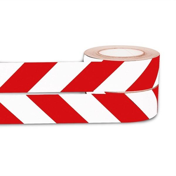 Warnband rot-weiss, 50 mm, 2x 25 lfm Selbstklebend, retroreflektierend