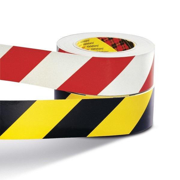 Warnband gelb-schwarz 60 mm, 66 lfm selbstklebend, nicht reflektierend